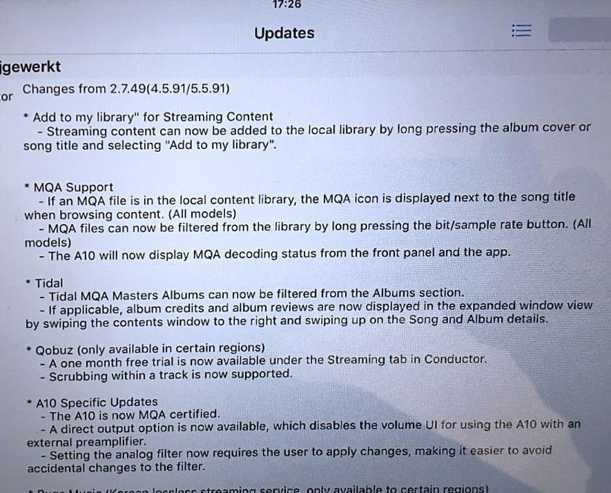 Lezer Pim levert het bewijs van de nieuwe Aurender MQA-capabele firmware