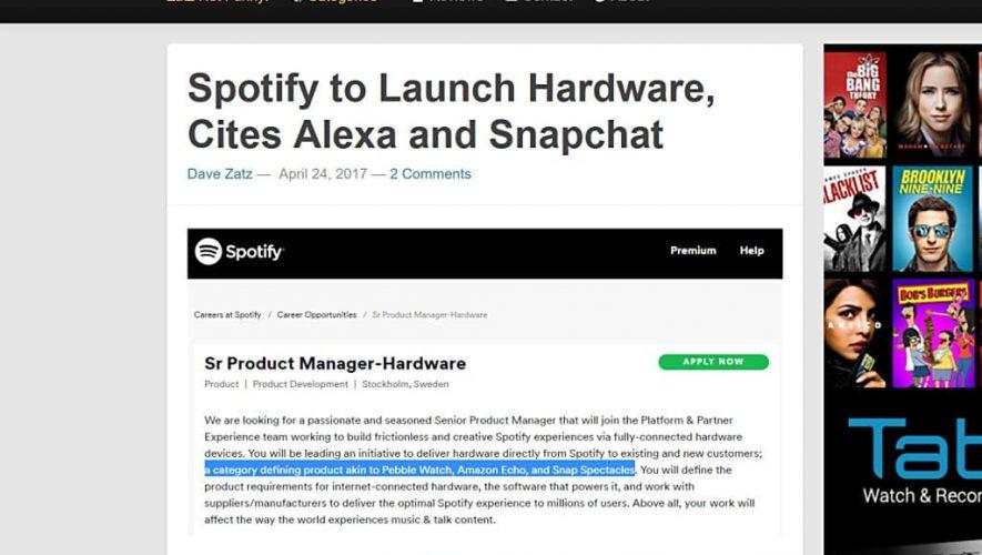 Dave Zatz ontdekte de Spotify banenadvertentie met link naar komende hardware