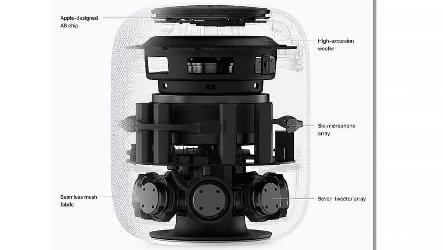 Een opengewerkte HomePod van Apple, zoals te vinden op de site van de fabrikant.