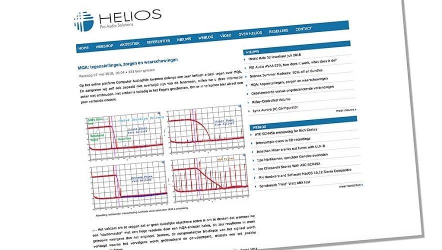 Importeur Helios linkt naar een interessant en kritisch artikel over MQA