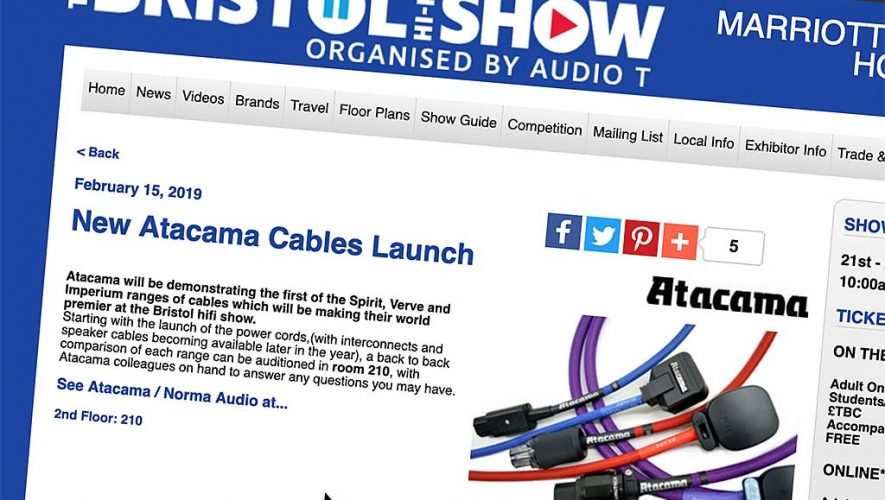 De nieuwe kabels van Atacama werden gepresenteerd op de Bristol Hifi Show vorige maand